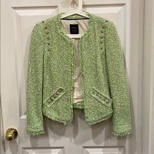 Zara green and white blazer with silver studs